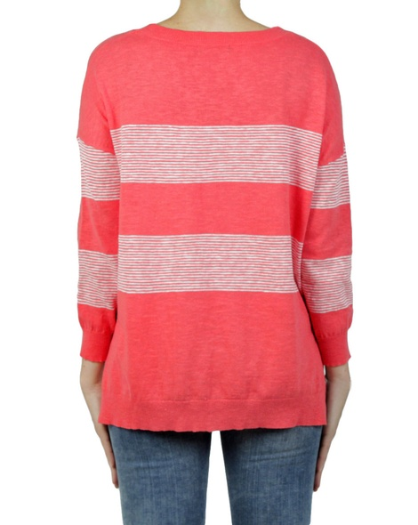 bold stripe jumper hibiscus back