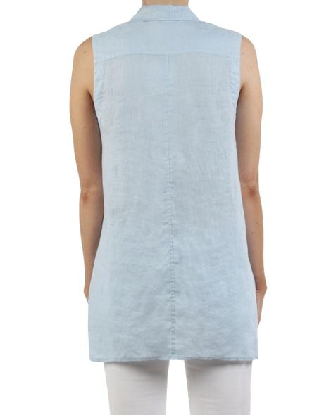Linen sleeveless shirt blue back