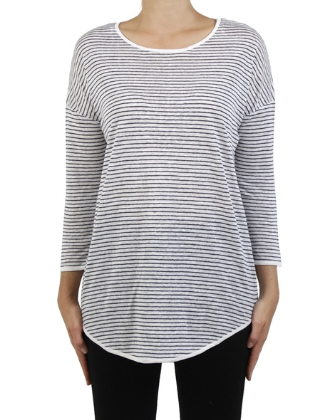 Fine stripe top navy white front copy