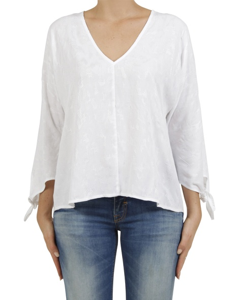 embroidered odette top white A