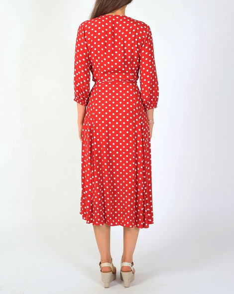 Spotty dorthea dress red B new