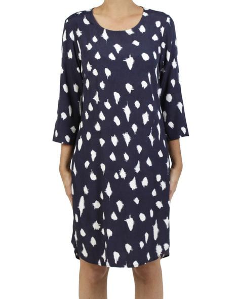Abstract spot dress navy A