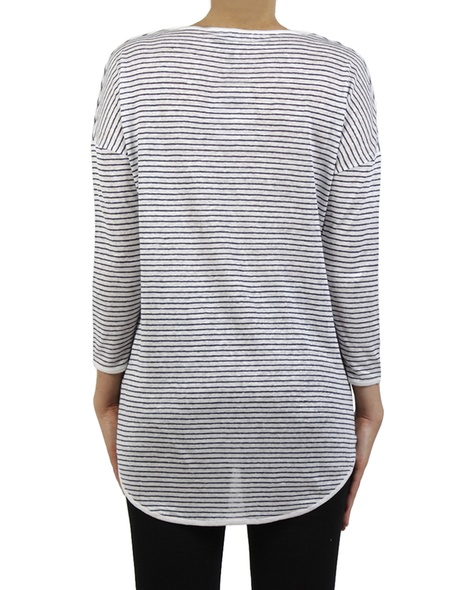 Fine stripe top navy white back