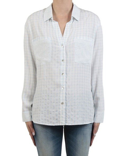 Gingham multi shirt sky front copy