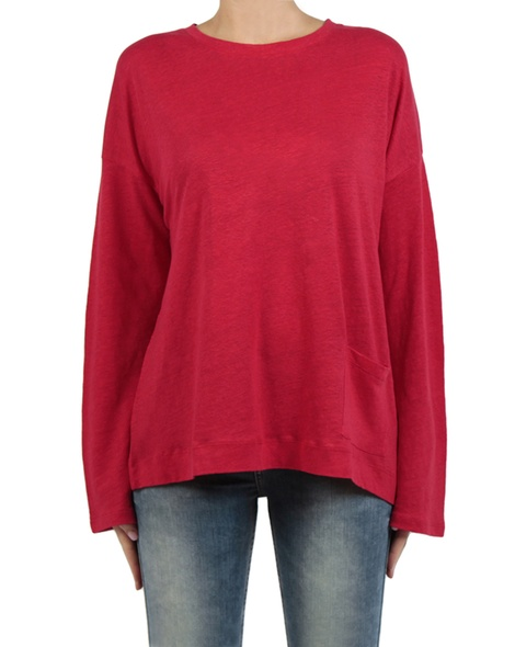 Linen boatneck knit cherry front copy