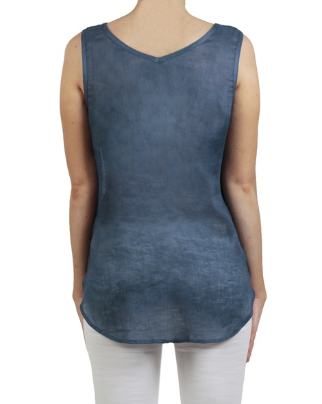 Pintuck gauze tank denim back