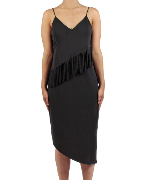 Fringe lulu dress black front