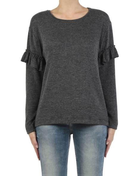 Maddie Frill Knit charcoal front